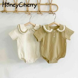 Wholesale korea summer short sleeve resale online - Summer Korea short sleeves thin lovely baby boy and girl Bodysuits girls clothes