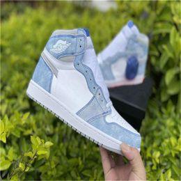 Großhandel 2021 Neueste Air Authentic 1 Hohe OG Hyper Royal Sneakers 1S Light Smoke Grey White Retro Herren Sportschuhe 555088-402 Mit Original Box