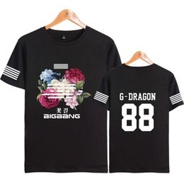 Wholesale t g clothing resale online - Bigbang Kpop Flower Road Womens T Shirts Hip Hop Short Sleeve Cotton Summer Clothes G Dragon T O P V I D Lite