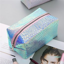 bags fish scale NZ - Fashion Fish Scale Pattern Laser PU Cosmetic Bag women Wash Storage Pouch Carry Cases Casual Travel Makeup Handbag