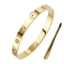 venda por atacado Luxo Designer Jóias Mulheres Braceletes de Aço Inoxidável 18k Homem Gold Bangle Correntes Moda Love Bracelet Coração Fechamento Para Mulher