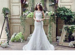 Lace Mermaid Wedding Dresses 2018 Sheer Straps White Tulle Appliques For Women Backless Bridal Gowns Vestido De Noiva on Sale