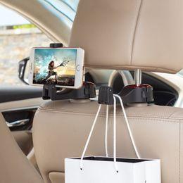 Wholesale Car Hook Hanger Supports Mobile Phone Stand Holder Magnetic Mount Adjustable Headrest Hooks Fastener Seat Back Clips For Bag Handbag Houseware