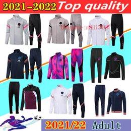 venda por atacado 21 22 Paris jaqueta de futebol agasalho 2021 2022 psg MBAPPE manga longa com zíper casacos Maillot de survêtement futebol Formação terno
