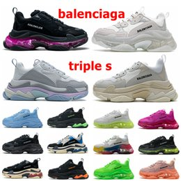 Wholesale Paris 17FW balenciaga triple s Clear Sole Mens Women Casual Shoes Crystal Bottom White Green Black Red Rainbow Sports Outdoor Dad Shoe