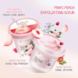Wholesale Peach Body Exfoliating Scrub Cream Face Deep Cleansing Skin Whitening Remove Dead Moisturizing Facial Cleaning Tool 6pcs