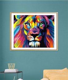 Vente en gros De gros! 5D Diamond Peinture sans cadre 30 * 40cm Owl Wolve Lion Forme Animal Shape Diy Art Kit de peinture Sticker mural Cousting Home Décoration Cadeau A12