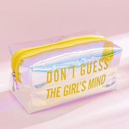 cosmetics pink box 2021 - 1pc Pencil Case Cute Storage Bag Travel Portable Wash PVC Box case School Supplies Cosmetic B325