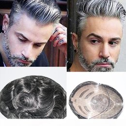 Wholesale New Arrival 100% Real Hair Replacement Short Slight Wave Gray Brown Handsome Human Hair Toupee Wigs