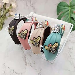 Fashion Rhinestone Bees Headwear Hairband Headband For Women Wide Side Bohemia Turban Flower Hair Accessories on Sale
