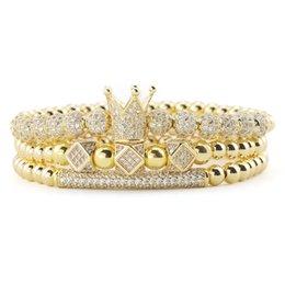3pcs Set Luxury Gold beads Royal King Crown Dice Charm CZ Ball Bracelet mens fashion bracelets & bangles for Men Jewelry on Sale
