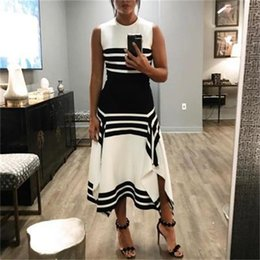 Wholesale black white stripe skirts for sale - Group buy round summer new women s fashion neck sleeveless Stripe Black and white stitching dress casual skirt