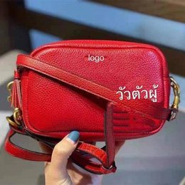 designer camera bags 2021 - 2021 year of the Ox New calf camera youth fashion Double Zipper Red Shoulder Bag