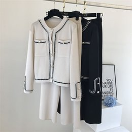 pants block UK - Autumn Korean Color Block Round Neck Double Pocket Knit Cardigan Top + Loose Wide Leg Pants Two-Piece Set Women 210514