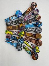 Renk Kafatası Graffiti Bayrağı Silikon Sigara İçme Sigara Tutucu Paslanmaz Çelik Kase Ile Silikonlar Tüp E-Sigara Aksesuarları