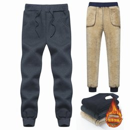 Wholesale men cashmere pants resale online - Brand Men s Wool Velvet Cashmere Pants Thick Fleece Joggers Winter Super Warm Pant Heavyweight Trousers Men Sweatpants