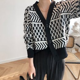 Wholesale striped cardigan sweater black white for sale - Group buy 2021 Spring Cardigans Knitted Single Button Sleeve V neck Sweater Black White Striped Women Clothes HCCY