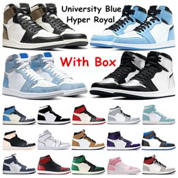 University Blue Basketball Shoes 1s Dark Mocha Hyper Royal Obsidian Silver Toe mens running sneakers Twist Light Smoke Grey Womens Sports Trainers on Sale