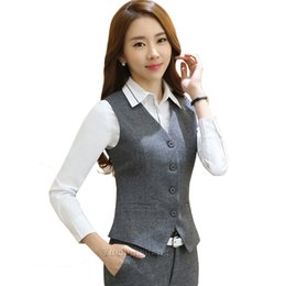 Wholesale dress office skirt resale online - dress Elegant women s blazer ensemble piece uniform sleeveless office skirt