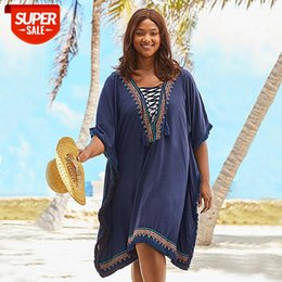 European and American cotton jersey blue embroidered lace mustache sand-resistant sunscreen jacket bikini blouse swimsuit with holiday #DA53