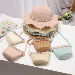 Wholesale white girl braids resale online - Girls Caps Kids Hats Bucket Wide Brim Straw Hat Accessories Grass Braid Floral Pearl Bags Purses Beach Summer Sets Sweet Y B5003