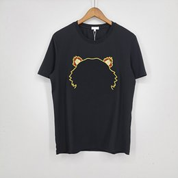 Wholesale Men Fashion T Shirts 2021 Trendy Women Tshirts Tiger Embroidery with Letter Mens Womens Summer Casual Breathable Tee Tops Asian Size