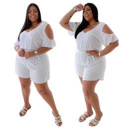 Plus Size Donne Tutes Tute 2021 Summer Casual Manica Corta T Shirt T Shirt Suit Suit Pagliaccetti Tute Tute Stile in Offerta