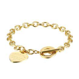 Women stainless steel bracelets PLEASE RETURN TO Heart gold silver OT chains Pulsera Bracelet Fashion T jewelry style on Sale