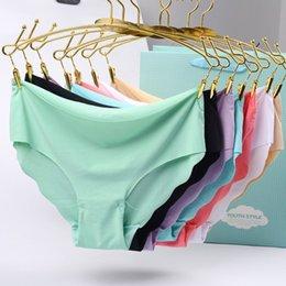 8pcs lot Panties For Women Seamless Briefs Underwear Set Ice Silk Sexy Ultra-thin Lingerie Soft Underpants Comfort Pants on Sale