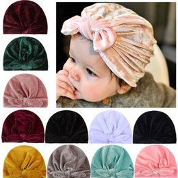 hair bows balls 2021 - Newborn Toddler Bow Beanie Cap Solid Color Baby Girls Infant Cotton Turban Head Wraps Hair Accessories Kids Soft Sweet Bonnet Beanies Photog