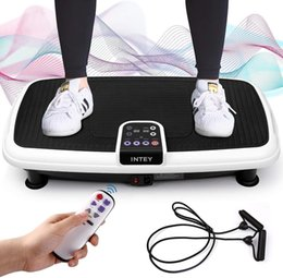 Vibration Plate, Vibrating Trainer with Training Bands and Remote Control, Ultra Thin Non-Slip,Vibration Fitness Platform for Full Body Workout, Loadable Up to 120kg