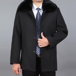 wool pea jacket Canada - 2021 New Men Wool Coat Autumn Wool Blend Jacket Winter Thick Woolen Coat Real Fur Mens Pea Erkek Mont Ceket M-4XL
