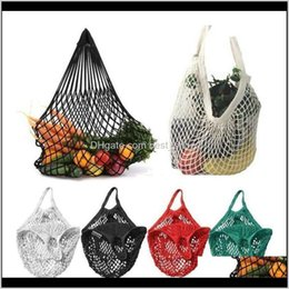 designer fabric bags wholesale 2021 - Baskets Housekeeping Organization Home Garden Drop Delivery 2021 Wearresisting Mesh Grid Net Turtle String Shopping Bag Reusable Fruit Storag
