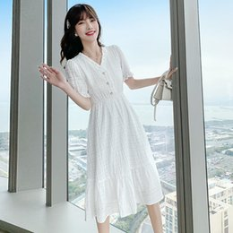 Wholesale korea summer short sleeve for sale - Group buy Casual Dresses South Korea Dongdamen Women s White Dress Summer Short Sleeve Korean Style