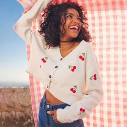 pull col v rose achat en gros de-news_sitemap_homeSheyle Pull d automne Rose Blanc V tanière Colf Casual Crop Tops Cherry Imprimé Cardigans Cardigans Streetwearfree Shippin