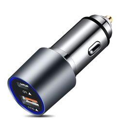 Портативное автомобильное зарядное устройство, USB QC3.0 PD двойной быстрый, полный алюминиевый сплав скользкий на Распродаже
