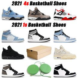 1 men basketball shoes 2021 hyper royal 1s university blue 4s back cat fire red women sneaker outdoor mens sports sneakers on Sale
