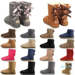 blue suede booties women UK - 2021 new arrival women snow boots fashion winter boot classic mini ankle short ladies girls women's booties grey chestnut navy blue us 5-10