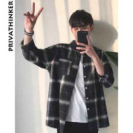 Wholesale strip shirts resale online - Privathinker Plaid Shirts Oversized Long Sleeve Shirt Men Women Casual Plaid Flannel Burr Shirts Harajuku Male Strip Shirts