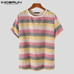 Wholesale vintage striped t shirt for sale - Group buy Summer Men Striped T Shirt Round Neck Short Sleeve Streetwear Casual Tee Tops Vintage Leisure Camiseta Masculina INCERUN Men s T Shirts