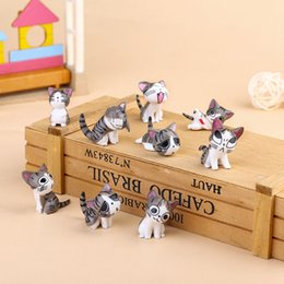 9 Peynir Kedi Karikatür Rakamlar Kediler Oynamak Ev Küçük Bebek Dekorasyon Öğeleri Mini Mikro Peyzaj Turuncu