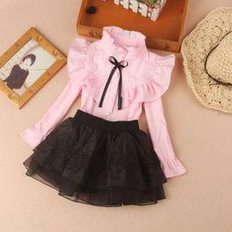 Yeni Bahar Güz Pamuk Bluz Büyük Kızlar Için Katı Renk Giysi Çocuk Uzun Kollu Okul Kız Gömlek Çocuklar Tops 2-16 Y LJ200819 340 Z2