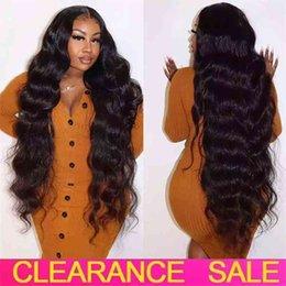 Wholesale CHEAP 30 Inch Wig Transparent al T Part Brazilian Wavy Body Wave Lace Front Human Hair Wigs