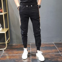 pants block UK - Men's Jeans Side Color Block Skinny Autumn And Winter Korean Style Casual Slim Fit Youth Harem Pants