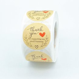 500 pcs Rolo 1.5inch Obrigado Handmade Rodada Adesiva adesivos Etiqueta para feriados presentes Decoração festiva de negócios em Promoção