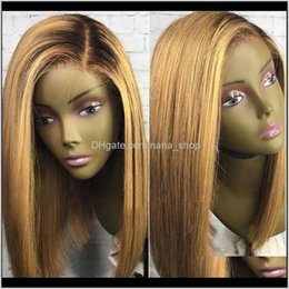 Discount short hair bleach 13X4 Honey Blonde Lace Front Human Wigs T1B 27 Brazilian 130 Remy Hair Short Bob Wig Black Root Bleached Knots Medium Ratio Pbheu Gegla