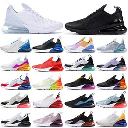 max 270 koşu ayakkabıları üçlü siyah beyaz kırmızı kadın erkek Chaussures Gerçek Olabilir BARELY ROSE 270s erkek eğitmenler Açık Spor Sneakers
