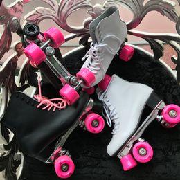 Wholesale Reniaever double roller skates skating shoe real leather High boot Gift womens pink wheels figure skateswhitefor women