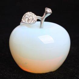 Опал кристалл яблоко статуэтки ремесленники украшения AVG.1.77 дюймов на Распродаже