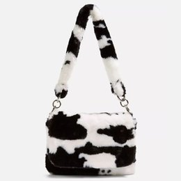 Wholesale nude women animals resale online - Bags Cow Shoulder Winter Faux Animal Fur Handbag for Women Party Lady Small Underarm Tote Cute Birthday
